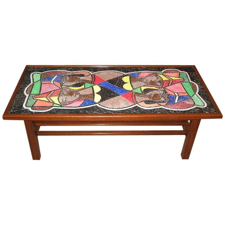 Danish Mid-Century Modern Mosaic Glass Coffee Table, circa 1950
