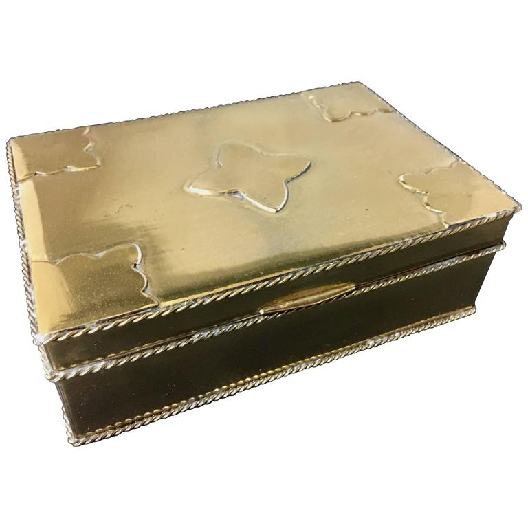 Hollywood Regency Polished Brass and Mahogany Jewelry Box For Sale