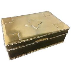 Hollywood Regency Polished Brass and Mahogany Jewelry Box