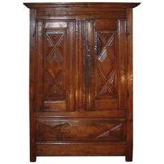 17th Century Louis XIV Period Small Oak Walnut Armoire