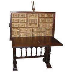 16th Century Spanish Walnut Vargueno, Cabinet on Stand