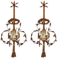 Pair of 19th Century English Wall Sconces with Wedgewood Bisque Plaques