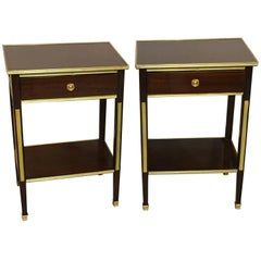 Pair of One Drawer Neoclassical Style Bronze-Mounted Mahogany End / Side Tables