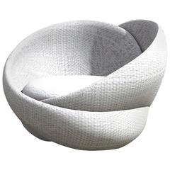 Knotty Indoor-Outdoor Armchair, Rattan with Footrest or Ottoman