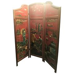 Wonderful 1940s Decorative Double Sided Painted Scenic Wooden Room Screen