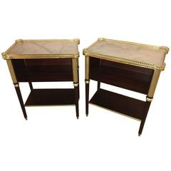 Pair of Jansen Louis XVI Fashioned Marble-Top Mahogany End or Bedside Tables
