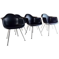Charles and Ray Eames DAX Chairs For Vitra Shell Dining Chairs Black Set of Six