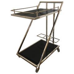 Lehigh Bar Cart, Silver and Black Lacquer