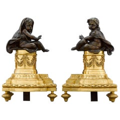 French Louis XVI-Style Bronze Chenets