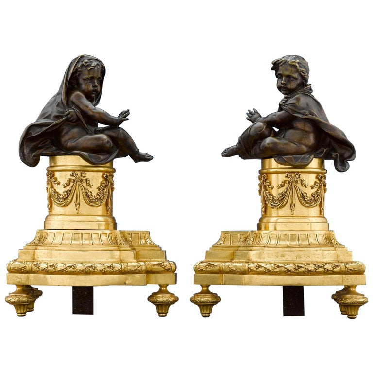 French Louis XVI-Style Bronze Chenets For Sale