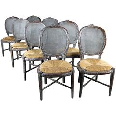 Vintage Faux Bois Carved Twig Dining Chairs with Caned Backs and Rush Seats