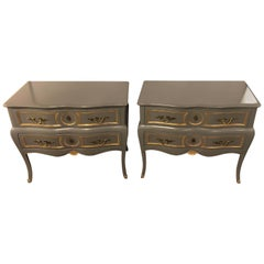 Pair of Louis XV Style Paint and Gilt Decorated Commodes Nightstands