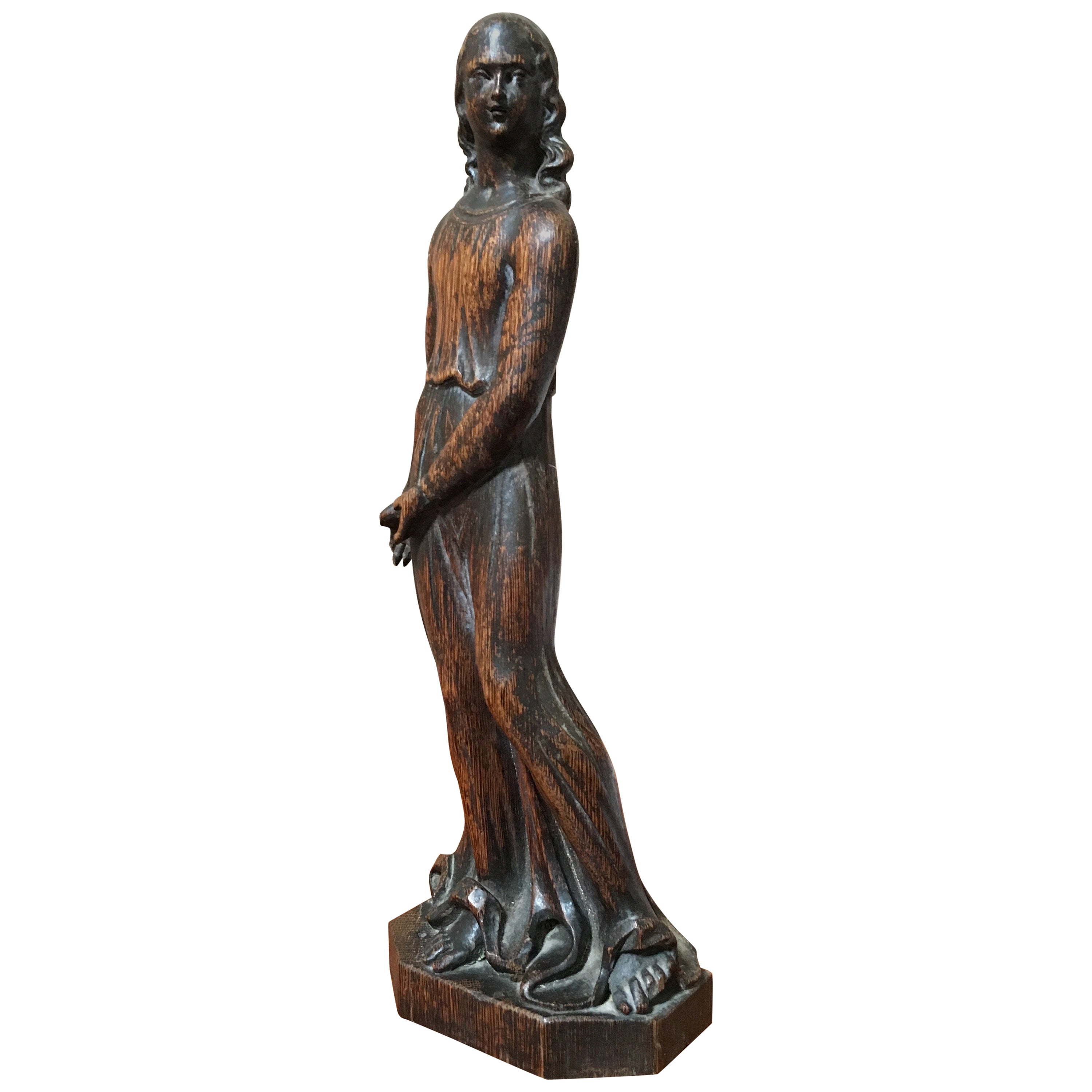 19th Century Hand¬-Carved Statue of a Woman