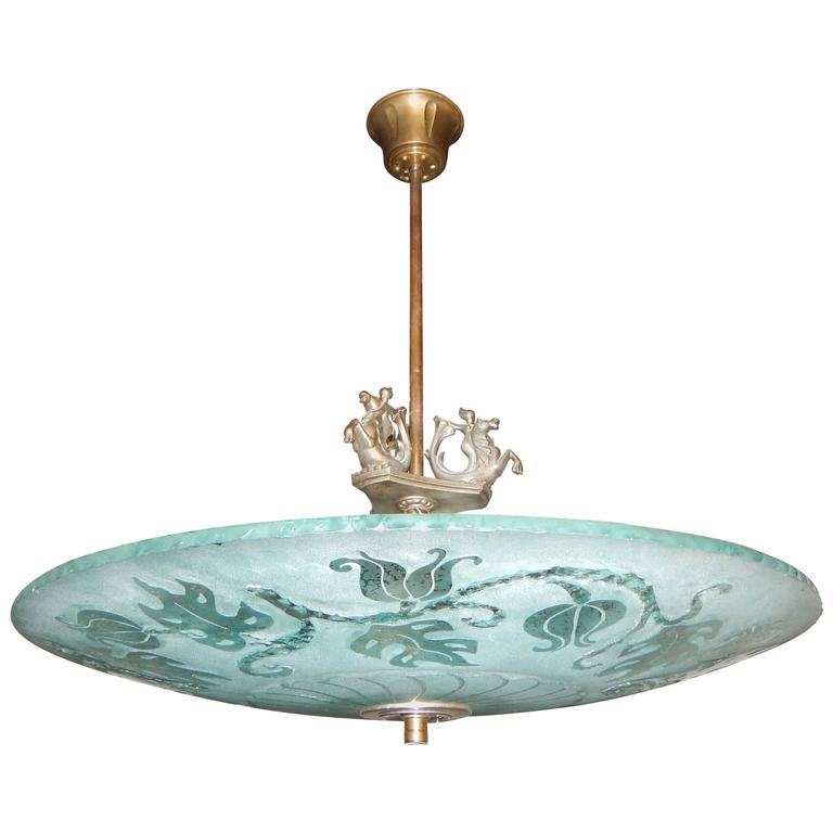 Swedish Art Deco Etched Glass Hanging Fixture with Leaf and Siren Motifs