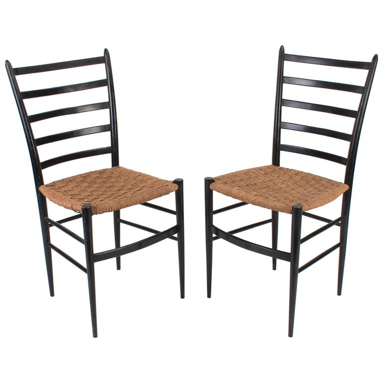 Two Ladder Back Chairs In The Style Of Gio Ponti For Sale