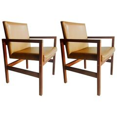 Pair of American Mid-Century Modern Solid Walnut Armchairs