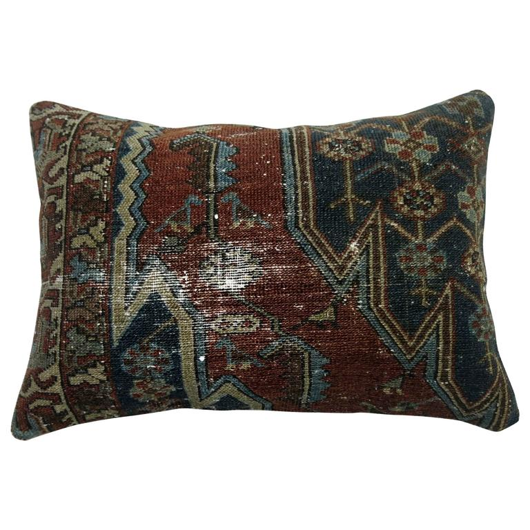 Shabby Chic Persian Malayer Lumbar Rug Pillow For Sale at 1stdibs