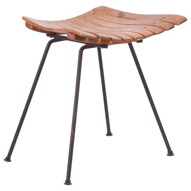 Phenomenal Mid Century Modern Wooden Vanity Stool By Arthur Umanoff Dailytribune Chair Design For Home Dailytribuneorg