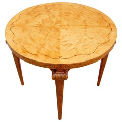 Swedish Art Deco Table in Highly Figured Golden Flame Birch Wood, circa 1920