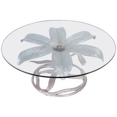 Arthur Court Coffee Table in Aluminium in the Shape of a Lily