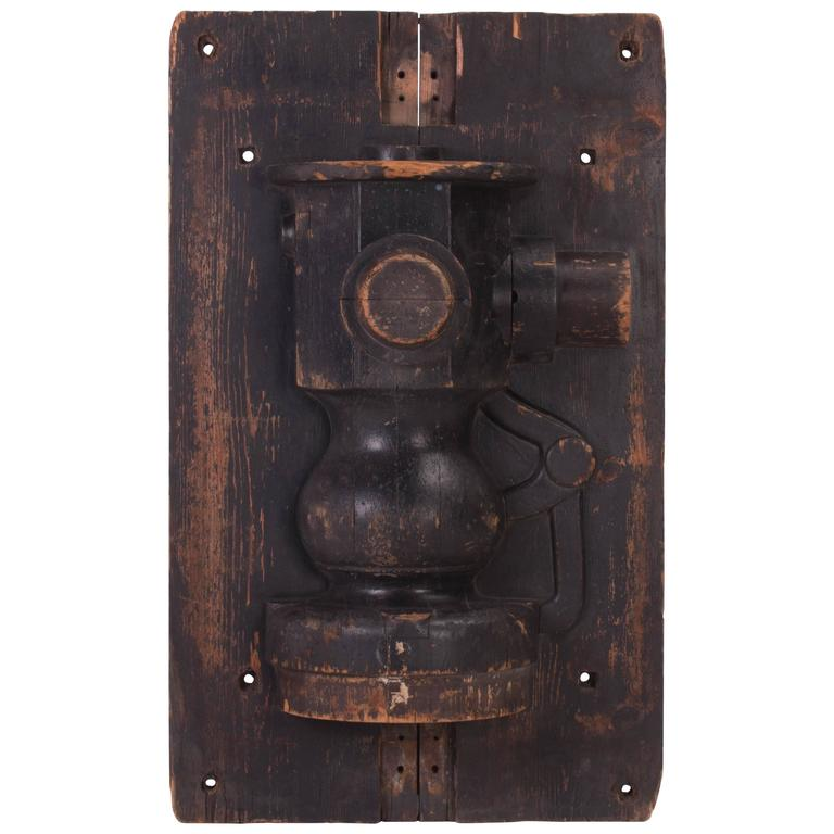 Industrial Wooden Mold Hanging Wall Art Piece For Sale At