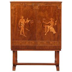 Swedish Grace Inlaid Cabinet by Mjölby Intarsia, circa 1940