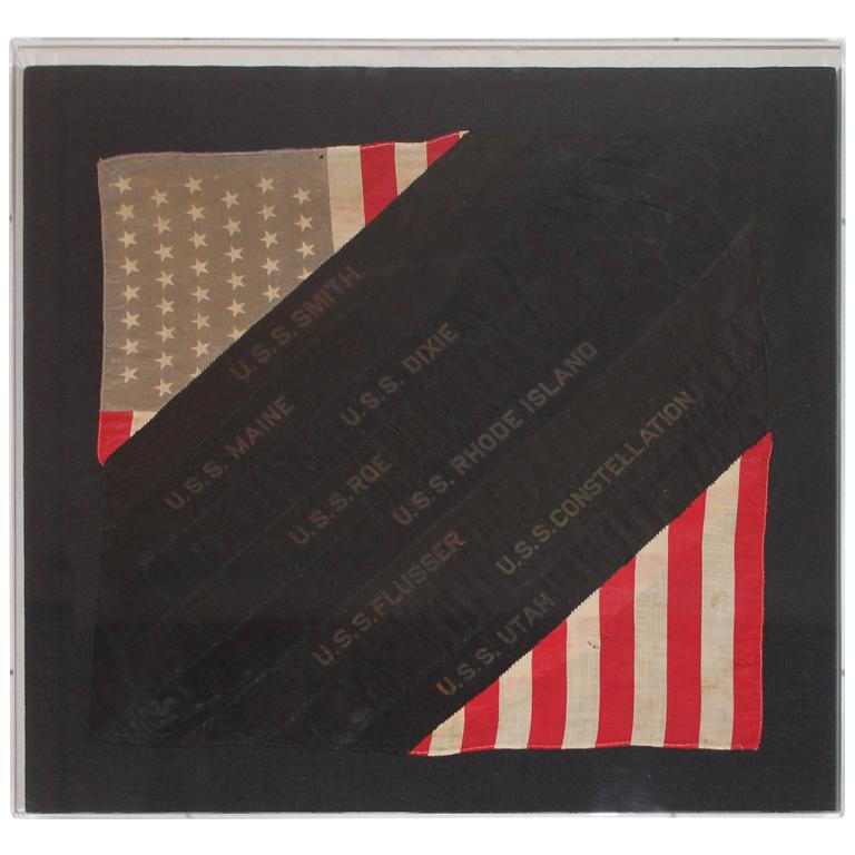 Framed Hand Sewn Patriotic Sham Made from a Flag and Ship Ribbons For Sale