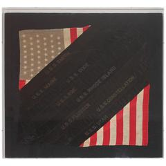 Framed Hand Sewn Patriotic Sham Made from a Flag and Ship Ribbons