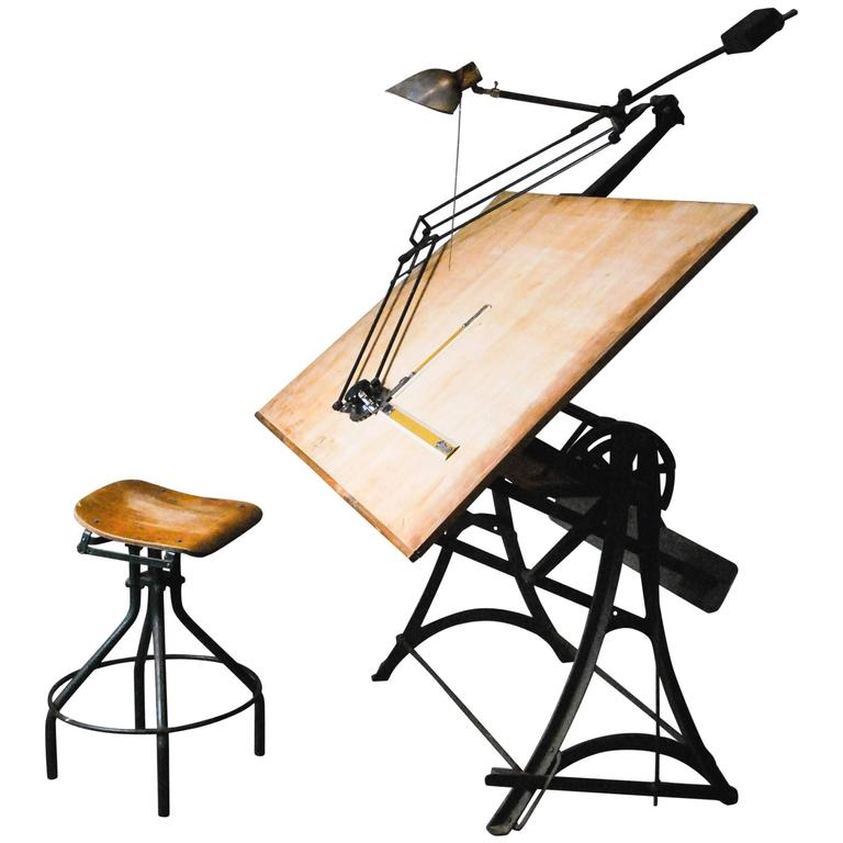 1920 Adjustable Cast Iron Drafting Table At 1stdibs
