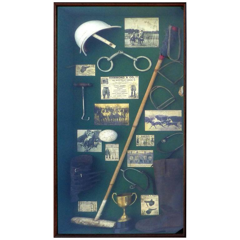 20th Century Large Vintage Polo Memorabilia Shadow Box For Sale