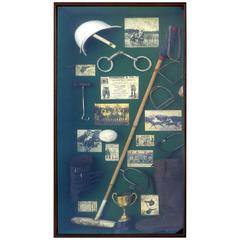 20th Century Large Vintage Polo Memorabilia Shadow Box