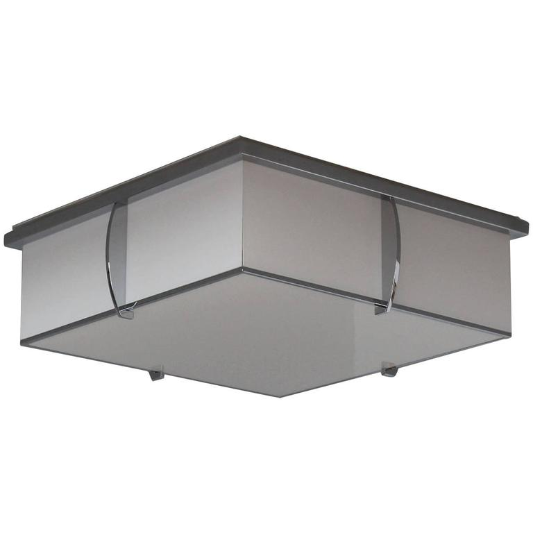 Fine French Art Deco Square Enameled Glass and Chrome Flush Mount by Perzel For Sale