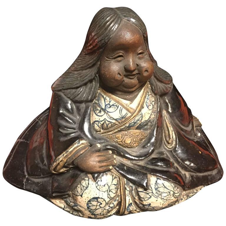 "Japanese Large Antique Folk Art Lady Okame Sculpture by Master ""Kenzan"" Signed For Sale"