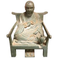 Old Japanese Bronze Kobo Daishi on Chair True Word School Buddhism