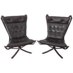 Pair of Sigurd Ressel Leather and Steel Falcon Chairs