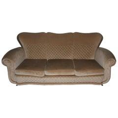 Sofa Attributed to Guglielmo Ulrich, 1940s Beige Brass Feat