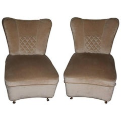Pair of Small Armchairs in Velvet and Brass Attributed Guglielmo Ulrich