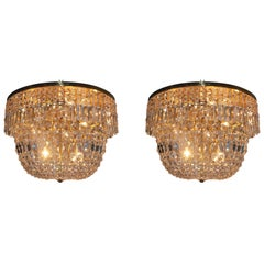 Pair of Large Cut Crystal and Brass Flush Mounts, Ch.Palme, Germany, 1960s