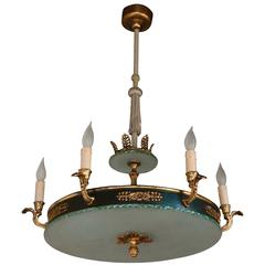 """Gustavian Style """"Plafond"""" Hanging Fixture by Bohlmarks, Stockholm, circa 1940"""