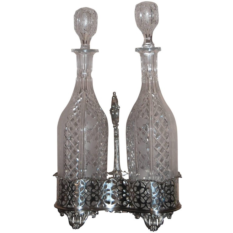 Elkington Victorian Silver Plate 2 Bottle Decanter Stand Tantalus, circa 1850 For Sale
