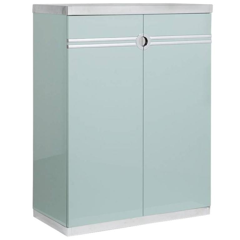 Pierre Cardin Aquamarine Lacquered Wardrobe Cabinet, 1970s