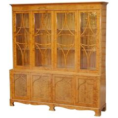Swedish Art Deco Golden Flame Birch Storage Cabinet, circa 1920