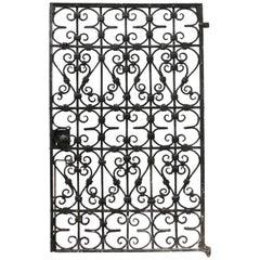 Black Wrought Iron Pedestrian Gate, circa 1900