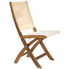 White and Teak Mixt 47 Outdoor Folding Side Chair by Royal Botania