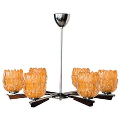 Chandelier Italian 1960s with Nice Murano Glass Shades