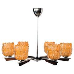 Chandelier Italian 1960s with Nice Murano Glass Shades