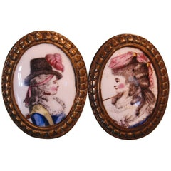 Late 18th Century Pair of English Battersea Enameled Tiebacks