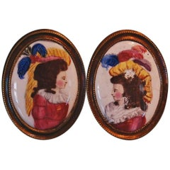 Pair of Antique Battersea or Bilston Enamel Curtain Tie Backs, circa 1790