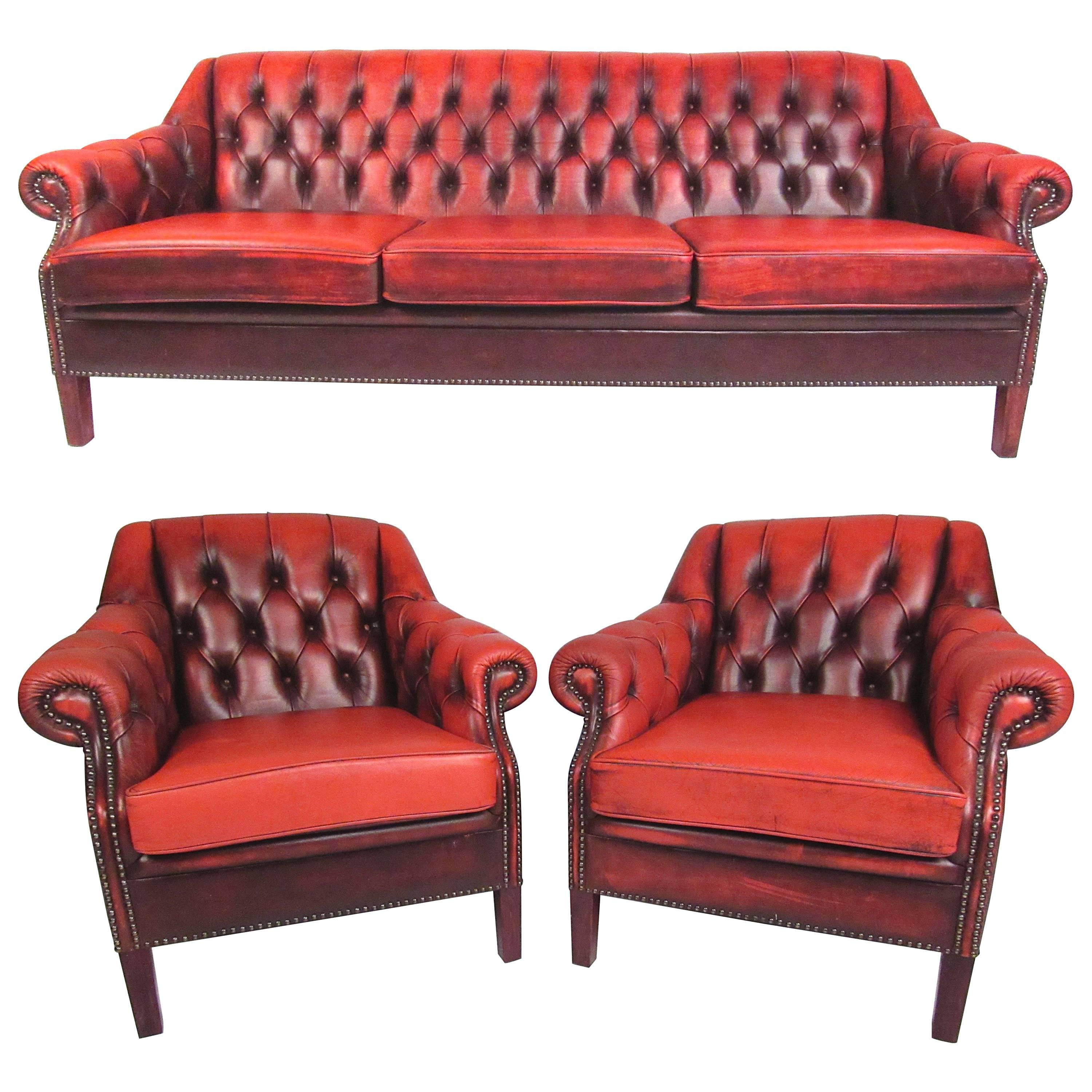 Leather Chesterfield Sofa Living Room Suite