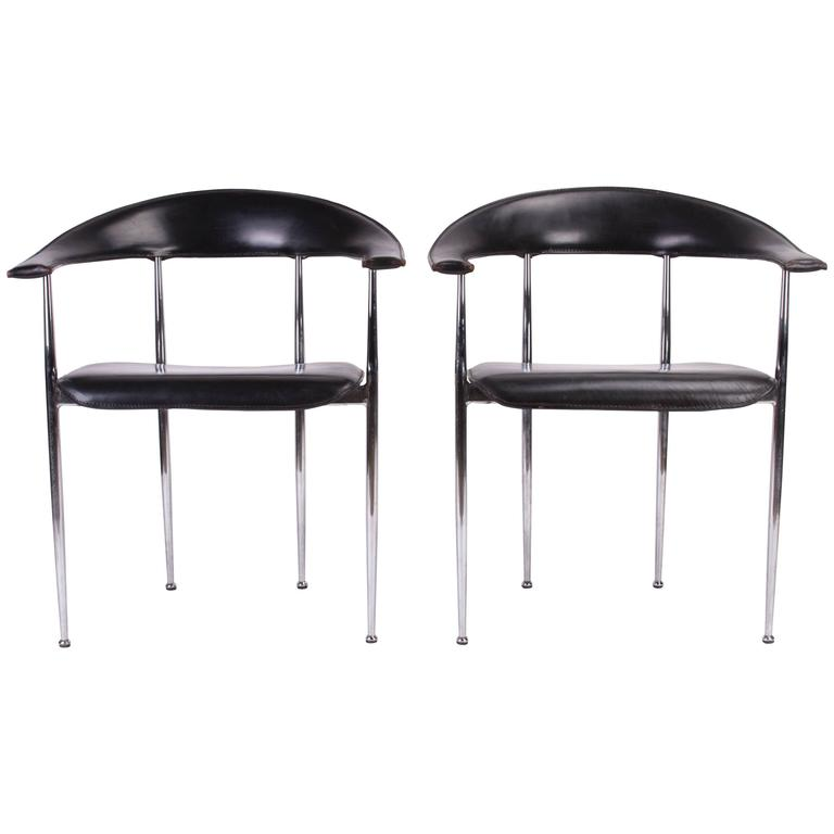 Italian Leather and Chrome Chairs by Tasem